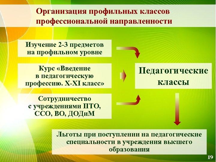 Организация профильных классов профессиональной направленности Изучение 2 -3 предметов на профильном уровне Курс «Введение