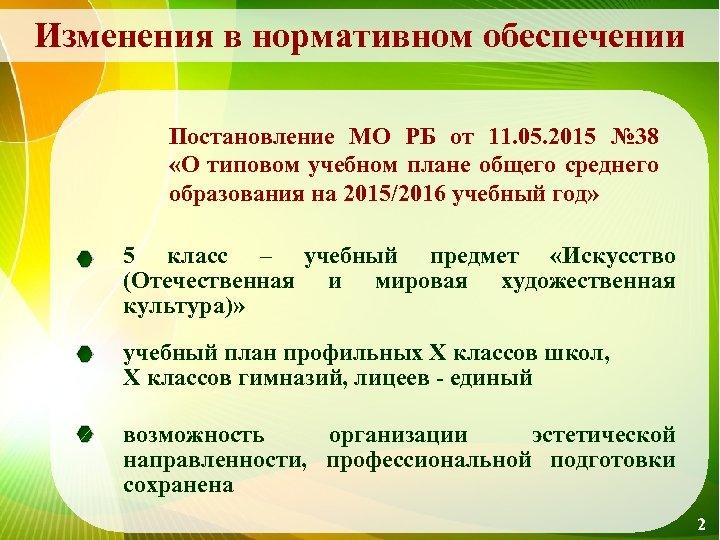 Изменения в нормативном обеспечении Постановление МО РБ от 11. 05. 2015 № 38 «О