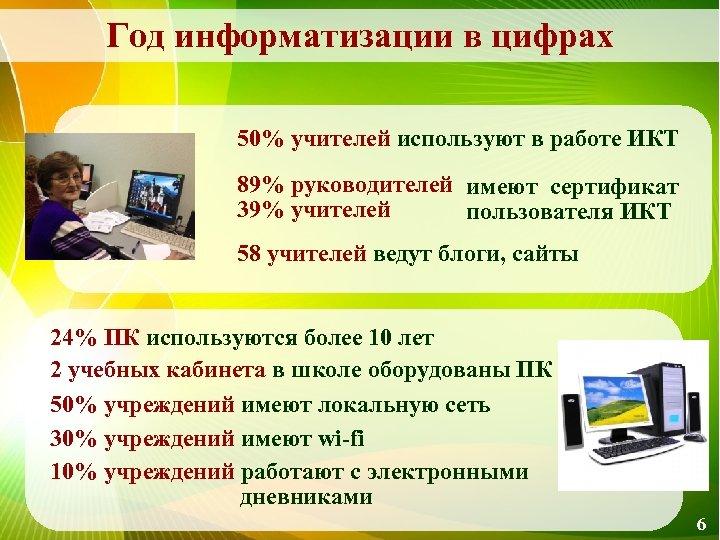 Год информатизации в цифрах 50% учителей используют в работе ИКТ 89% руководителей имеют сертификат
