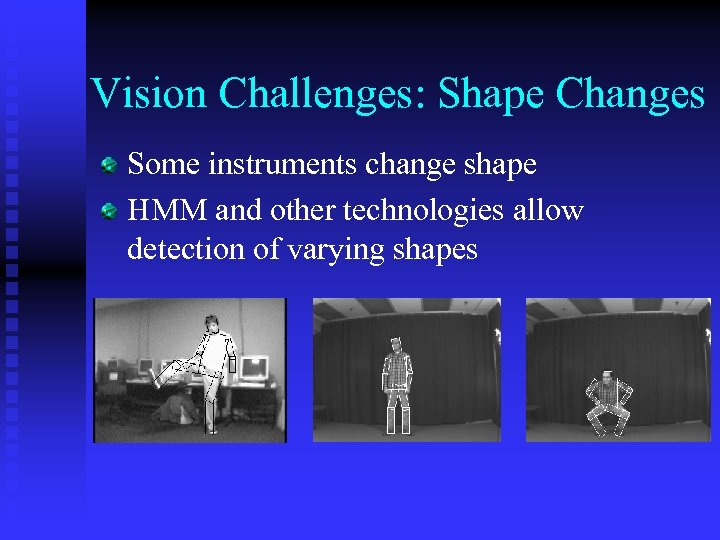 Vision Challenges: Shape Changes Some instruments change shape HMM and other technologies allow detection