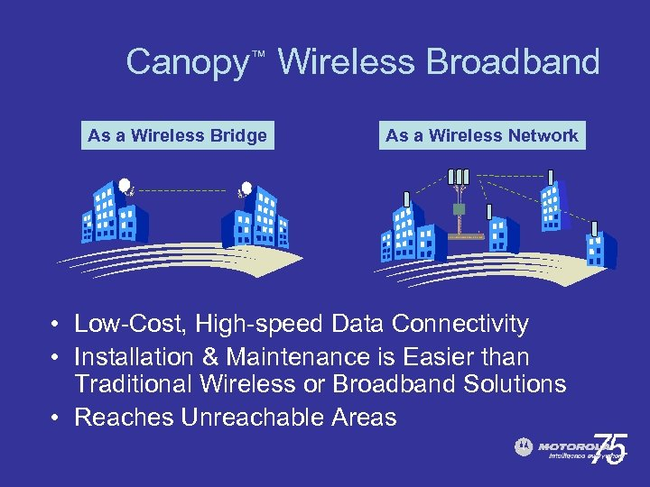 Canopy™ Wireless Broadband As a Wireless Bridge As a Wireless Network • Low-Cost, High-speed