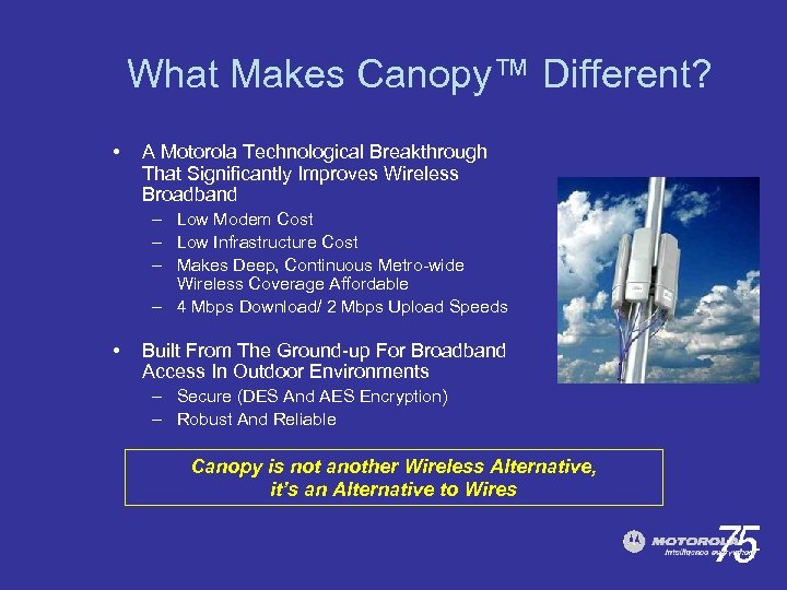 What Makes Canopy™ Different? • A Motorola Technological Breakthrough That Significantly Improves Wireless Broadband