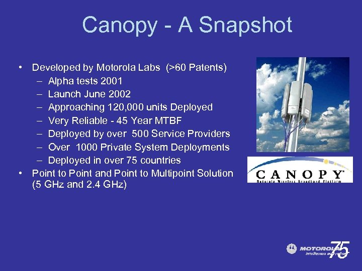 Canopy - A Snapshot • Developed by Motorola Labs (>60 Patents) – Alpha tests