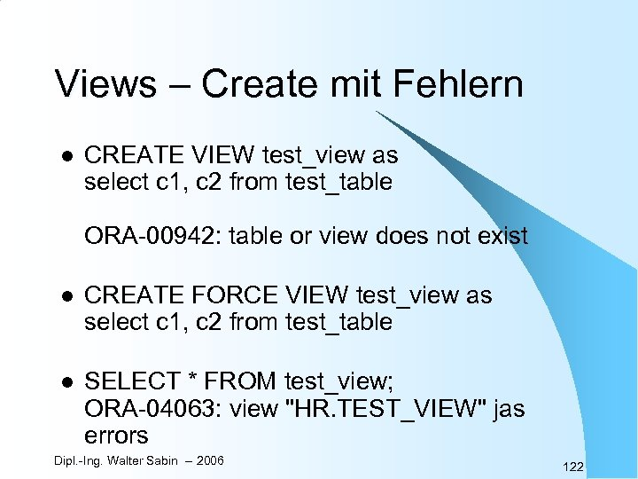 Views – Create mit Fehlern l CREATE VIEW test_view as select c 1, c
