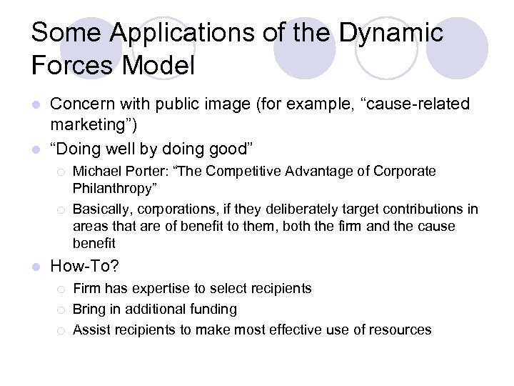 "Some Applications of the Dynamic Forces Model Concern with public image (for example, ""cause-related"