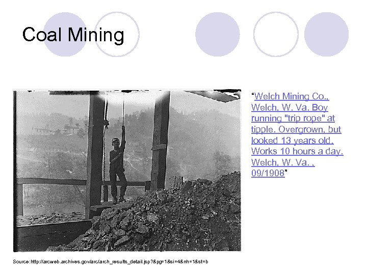 "Coal Mining ""Welch Mining Co. , Welch, W. Va. Boy running"