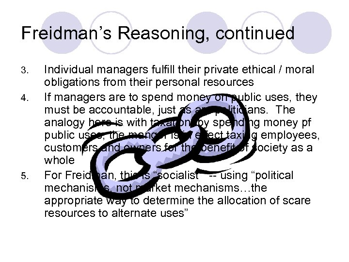 Freidman's Reasoning, continued 3. 4. 5. Individual managers fulfill their private ethical / moral