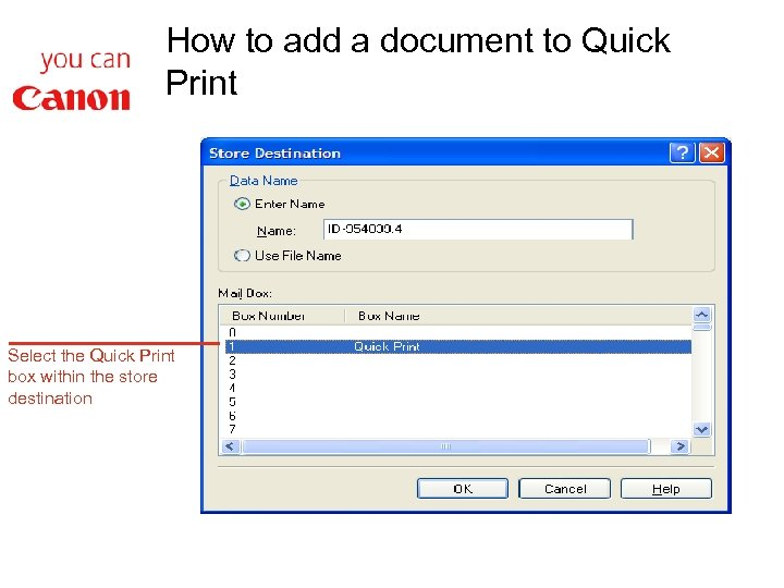 How to add a document to Quick Print Select the Quick Print box within