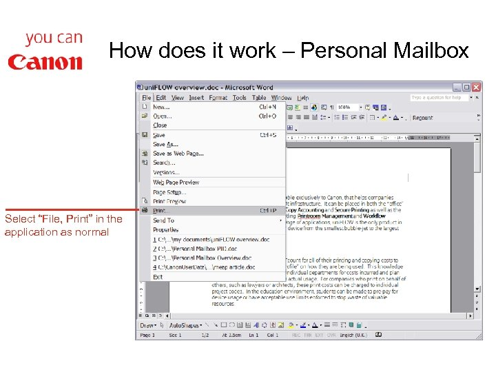 """How does it work – Personal Mailbox Select """"File, Print"""" in the application as"""