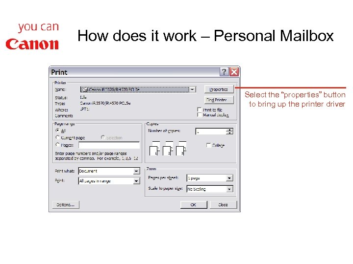 """How does it work – Personal Mailbox Select the """"properties"""" button to bring up"""