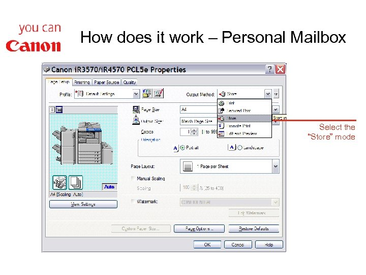 """How does it work – Personal Mailbox Select the """"Store"""" mode"""