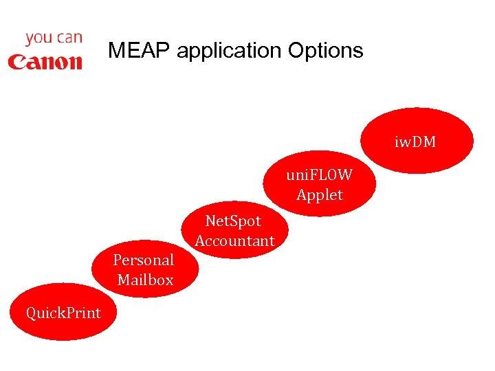 MEAP application Options iw. DM uni. FLOW Applet Personal Mailbox Quick. Print Net. Spot