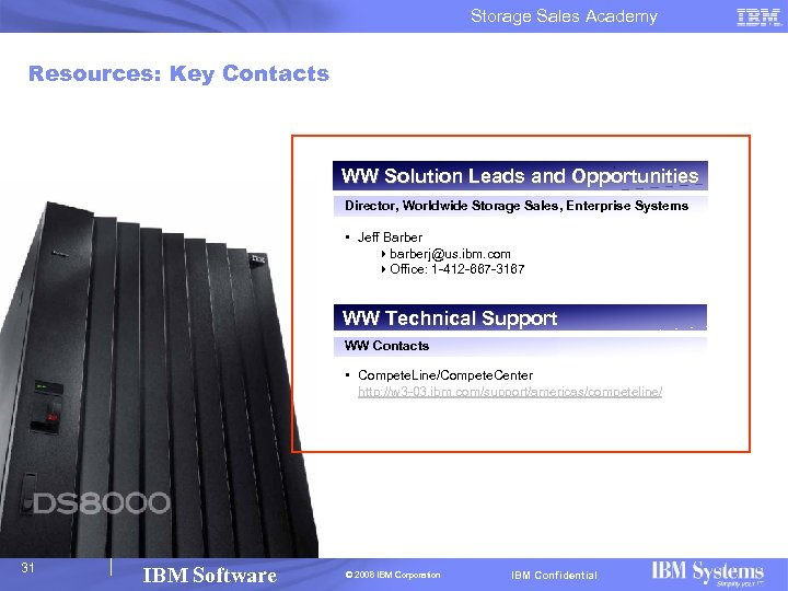 Storage Sales Academy Resources: Key Contacts WW Solution Leads and Opportunities Director, Worldwide Storage