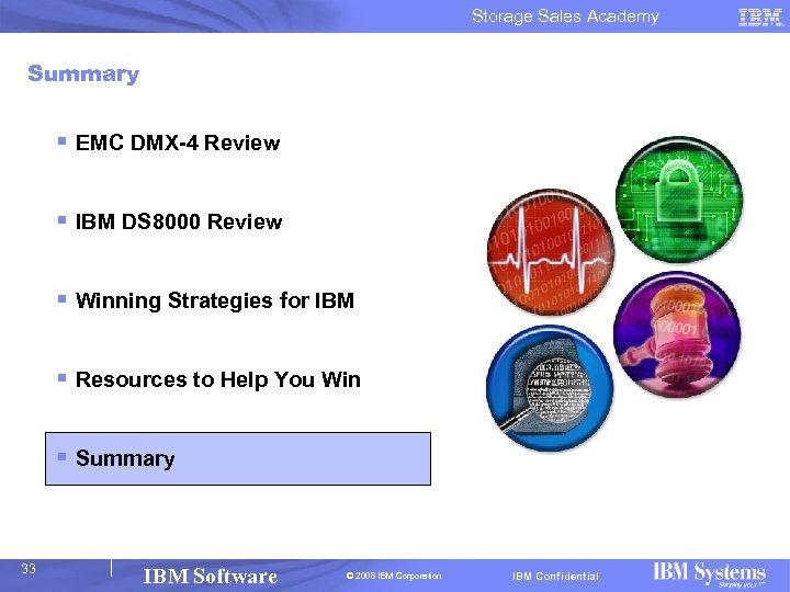 Storage Sales Academy Summary § EMC DMX-4 Review § IBM DS 8000 Review §