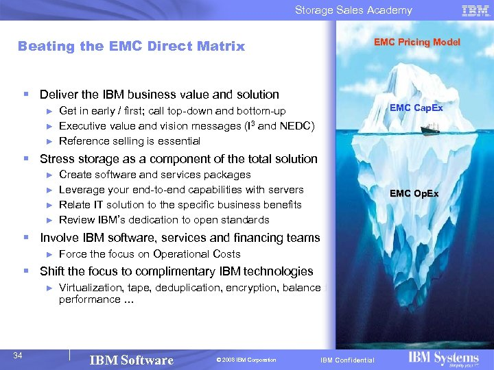 Storage Sales Academy Beating the EMC Direct Matrix EMC Pricing Model § Deliver the