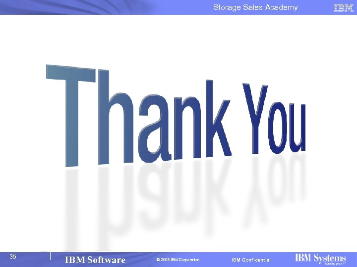 Storage Sales Academy 35 IBM Software © 2008 IBM Corporation IBM Confidential