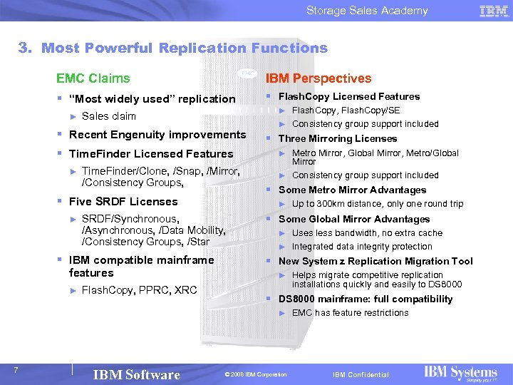 """Storage Sales Academy 3. Most Powerful Replication Functions EMC Claims IBM Perspectives § """"Most"""