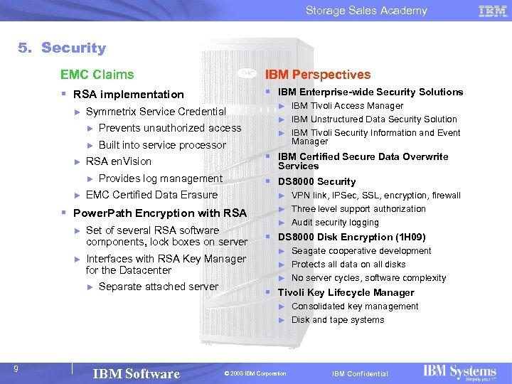 Storage Sales Academy 5. Security EMC Claims IBM Perspectives § RSA implementation § IBM