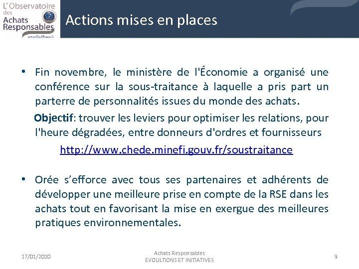 Actions mises en places • Fin novembre, le ministère de l'Économie a organisé une