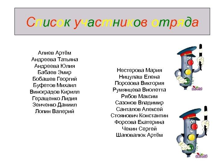 Список участников отряда Алиев Артём Андреева Татьяна Андреева Юлия Бабаев Эмир Бобашев Георгий Буфетов