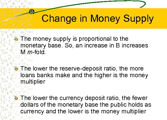 Change in Money Supply The money supply is proportional to the monetary base. So,