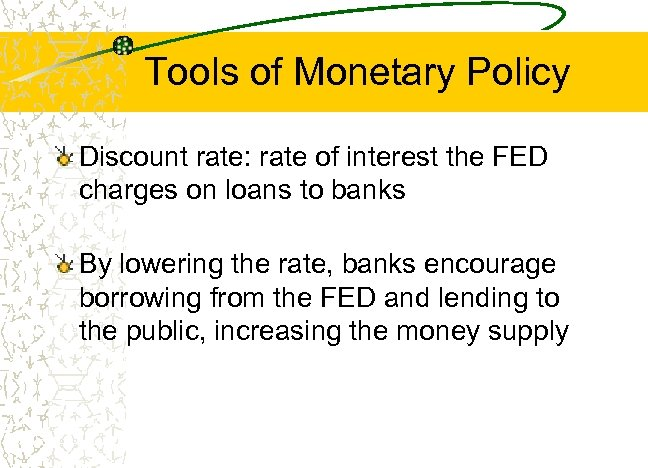Tools of Monetary Policy Discount rate: rate of interest the FED charges on loans