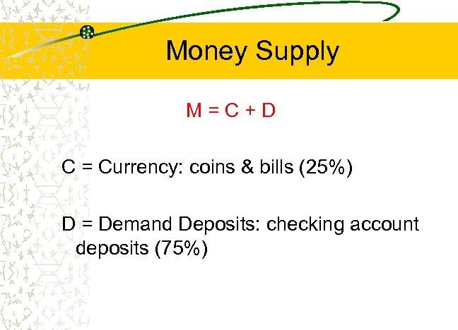 Money Supply M=C+D C = Currency: coins & bills (25%) D = Demand Deposits: