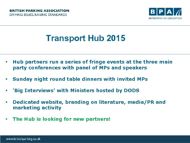 Transport Hub 2015 • Hub partners run a series of fringe events at the