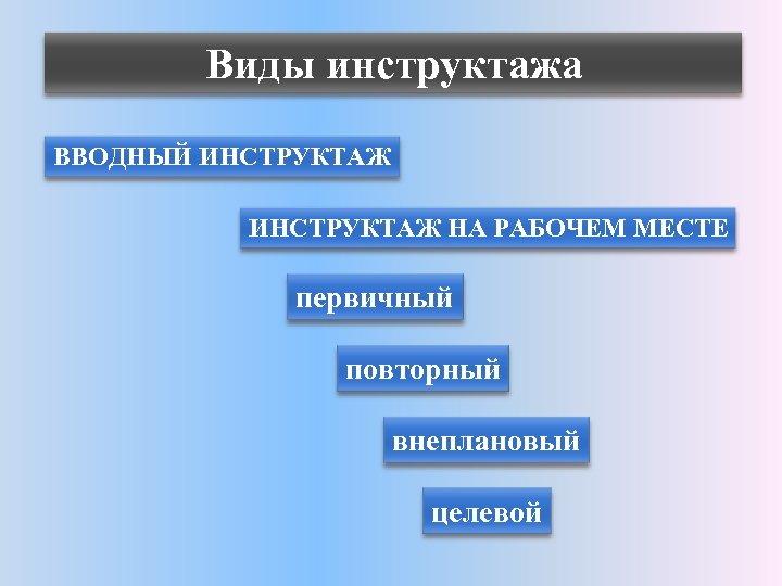 Виды инструктажа ВВОДНЫЙ ИНСТРУКТАЖ НА РАБОЧЕМ МЕСТЕ первичный повторный внеплановый целевой