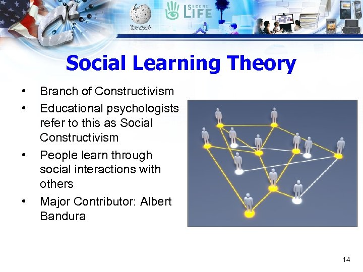 Social Learning Theory • • Branch of Constructivism Educational psychologists refer to this as