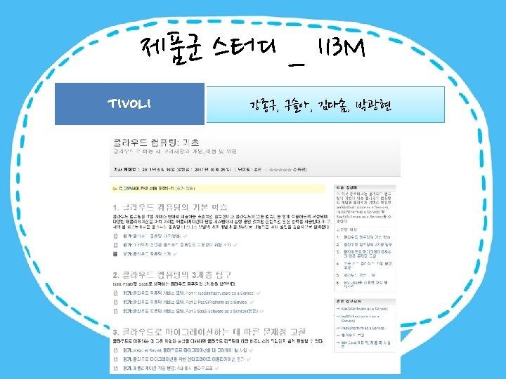 제품군 스터디 _ I 13 M TIVOLI 강종구, 구슬아, 김다솜, 박광현