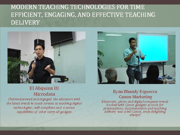 MODERN TEACHING TECHNOLOGIES FOR TIME EFFICIENT, ENGAGING, AND EFFECTIVE TEACHING DELIVERY El Abquina III
