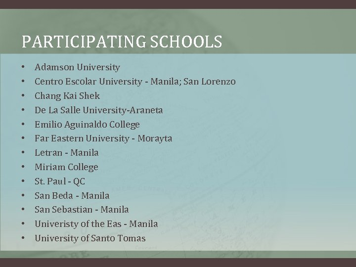 PARTICIPATING SCHOOLS • • • • Adamson University Centro Escolar University - Manila; San