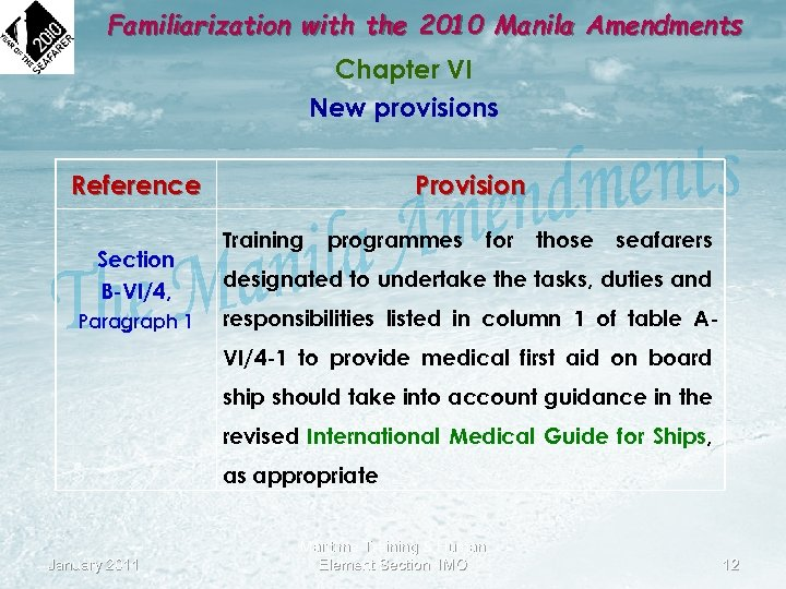 Familiarization with the 2010 Manila Amendments Chapter VI New provisions Reference Section B-VI/4, Paragraph