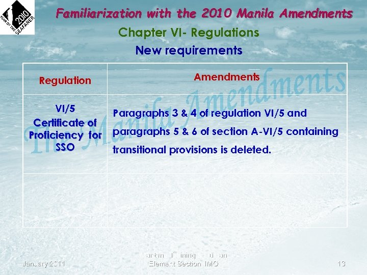 Familiarization with the 2010 Manila Amendments Chapter VI- Regulations New requirements Regulation VI/5 Certificate