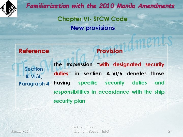Familiarization with the 2010 Manila Amendments Chapter VI- STCW Code New provisions Reference Provision