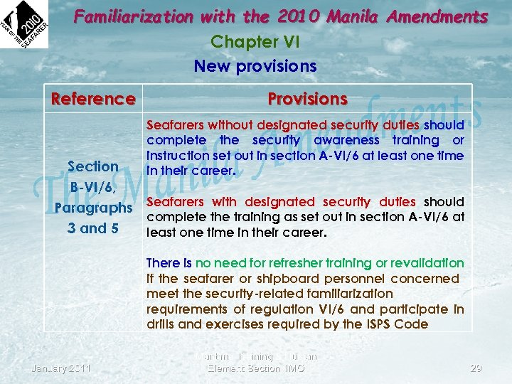 Familiarization with the 2010 Manila Amendments Chapter VI New provisions Reference Provisions Seafarers without