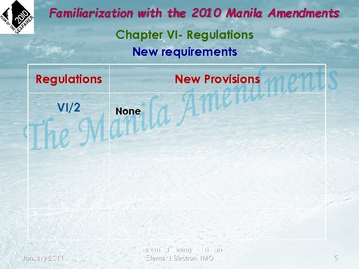 Familiarization with the 2010 Manila Amendments Chapter VI- Regulations New requirements Regulations VI/2 January