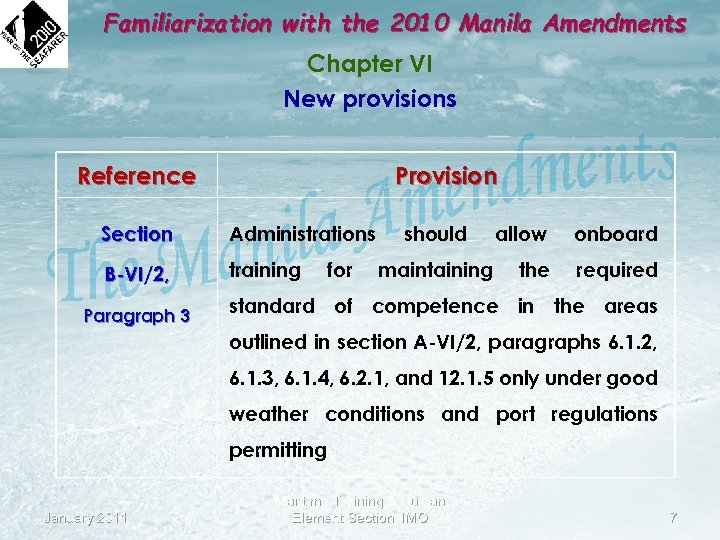 Familiarization with the 2010 Manila Amendments Chapter VI New provisions Reference Provision Section Administrations