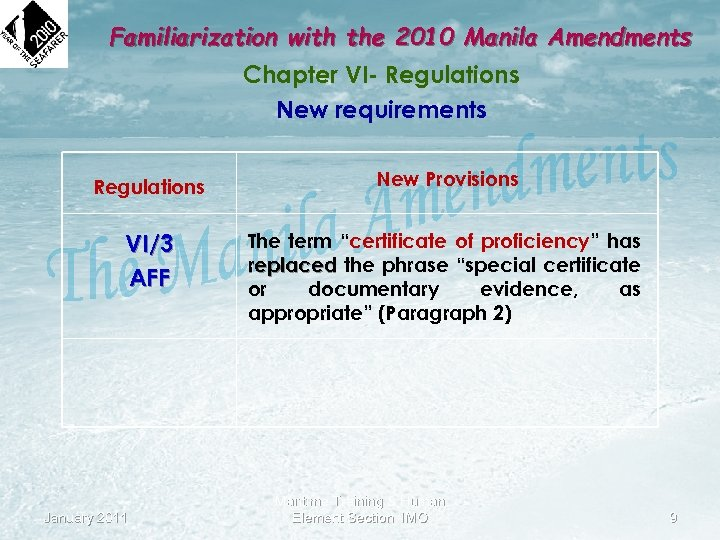 Familiarization with the 2010 Manila Amendments Chapter VI- Regulations New requirements Regulations New Provisions