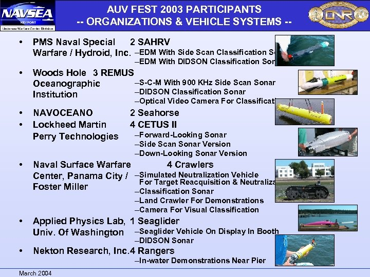AUV FEST 2003 PARTICIPANTS -- ORGANIZATIONS & VEHICLE SYSTEMS - • PMS Naval Special