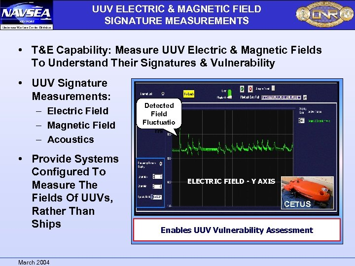 UUV ELECTRIC & MAGNETIC FIELD SIGNATURE MEASUREMENTS – Electric Field – Magnetic Field –