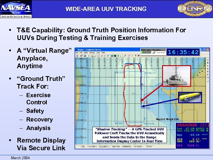 WIDE-AREA UUV TRACKING • T&E Capability: Ground Truth Position Information For UUVs During Testing