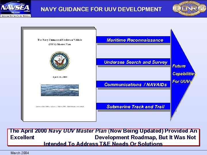 NAVY GUIDANCE FOR UUV DEVELOPMENT Maritime Reconnaissance Undersea Search and Survey Future Capabilities Communications