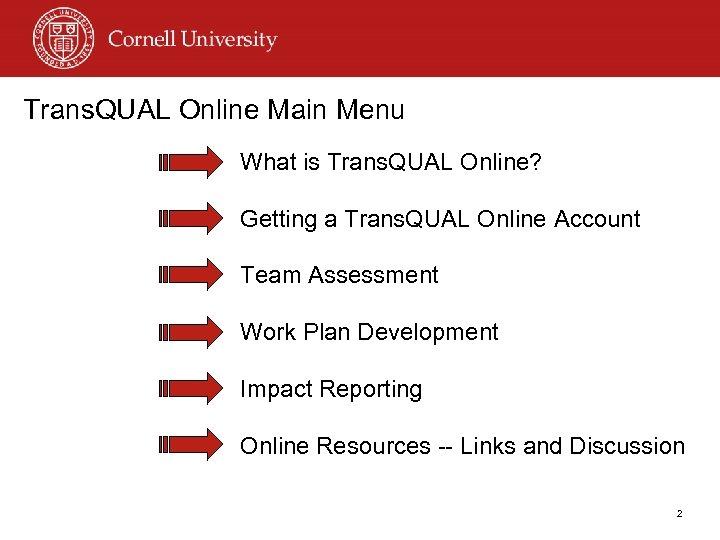 Trans. QUAL Online Main Menu What is Trans. QUAL Online? Getting a Trans. QUAL