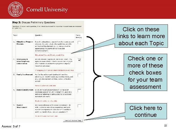Click on these links to learn more about each Topic Check one or more