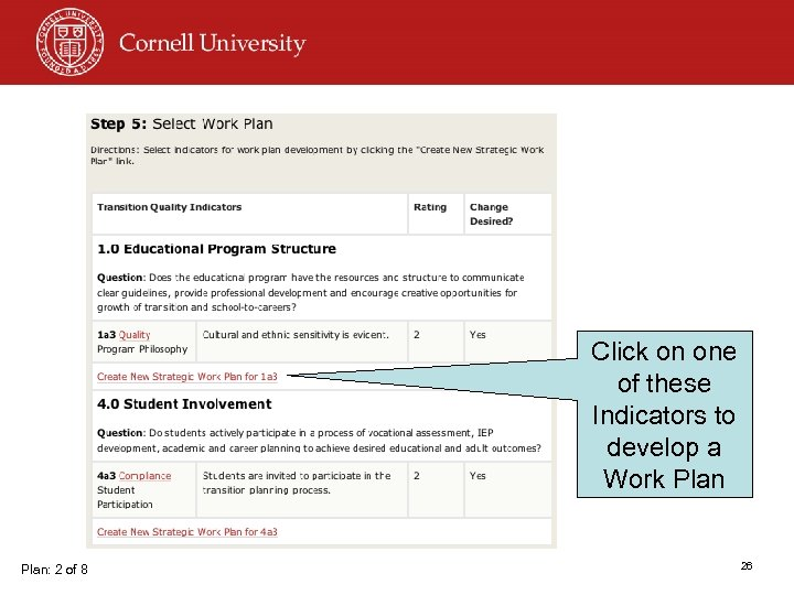 Click on one of these Indicators to develop a Work Plan: 2 of 8