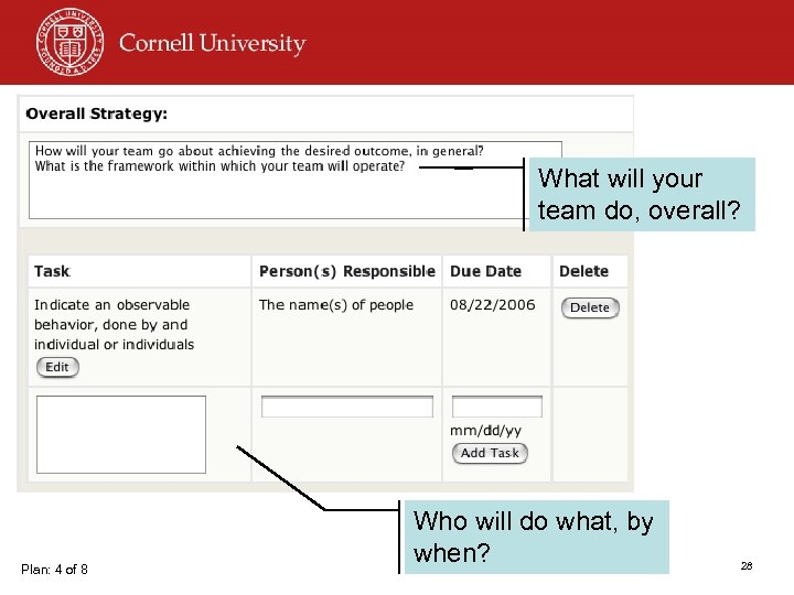 What will your team do, overall? Plan: 4 of 8 Who will do what,