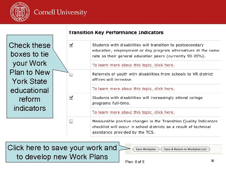 Check these boxes to tie your Work Plan to New York State educational reform