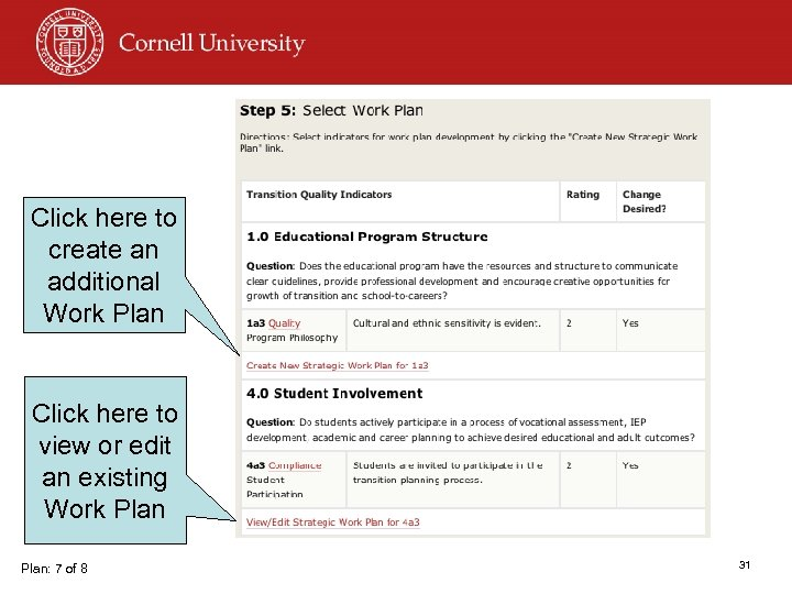 Click here to create an additional Work Plan Click here to view or edit